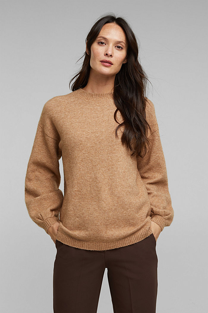 Made of blended wool: jumper with balloon sleeves, CAMEL, detail image number 0
