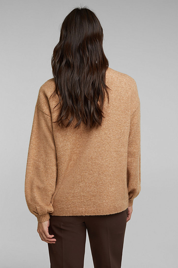 Made of blended wool: jumper with balloon sleeves, CAMEL, detail image number 3