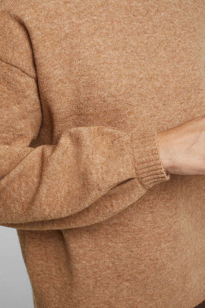 Made of blended wool: jumper with balloon sleeves, CAMEL, detail image number 5