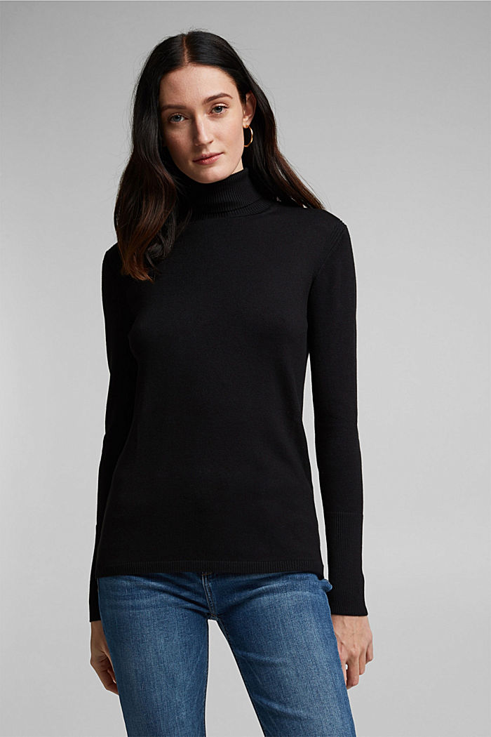 Polo neck jumper in LENZING™ ECOVERO™, BLACK, detail image number 0