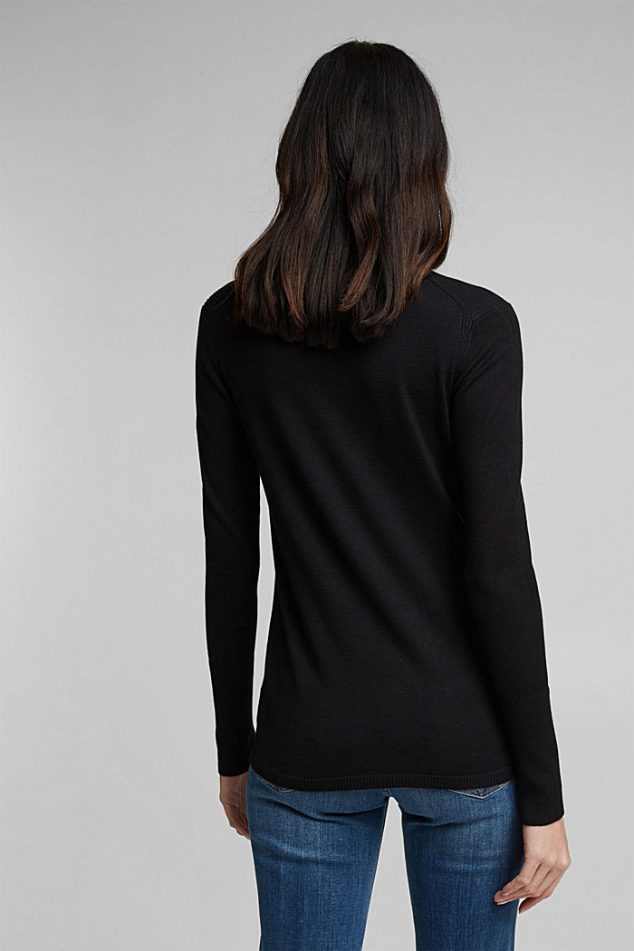 Polo neck jumper in LENZING™ ECOVERO™, BLACK, detail image number 3