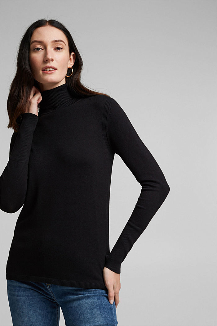 Polo neck jumper in LENZING™ ECOVERO™, BLACK, detail image number 4
