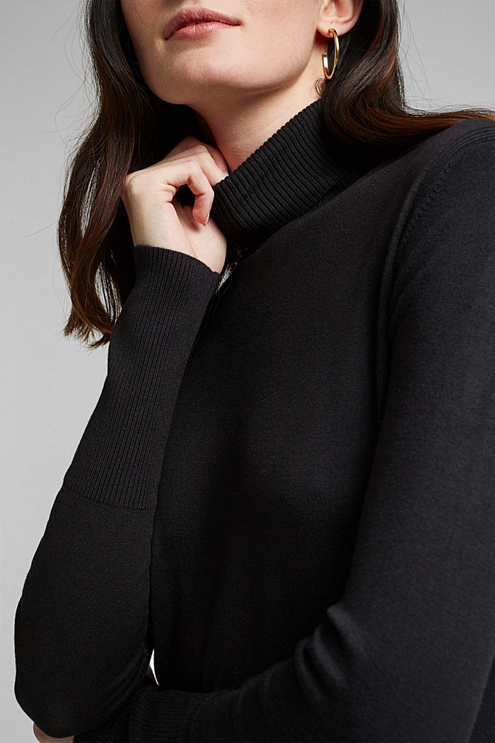 Polo neck jumper in LENZING™ ECOVERO™, BLACK, detail image number 2