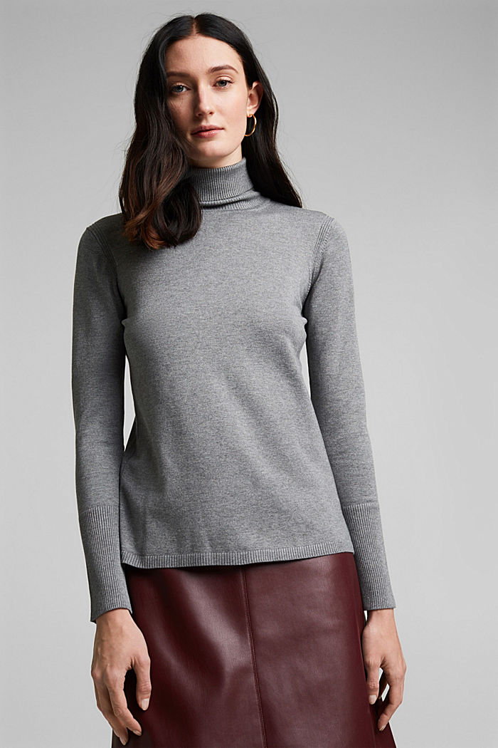 Polo neck jumper in LENZING™ ECOVERO™, GUNMETAL, overview