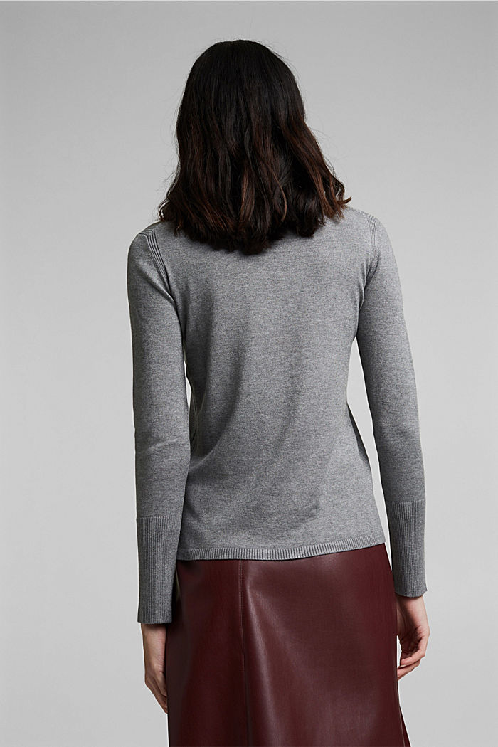 Polo neck jumper in LENZING™ ECOVERO™, GUNMETAL, detail image number 3