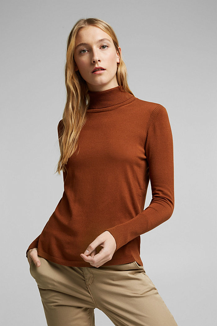 Polo neck jumper in LENZING™ ECOVERO™, TOFFEE, detail image number 0