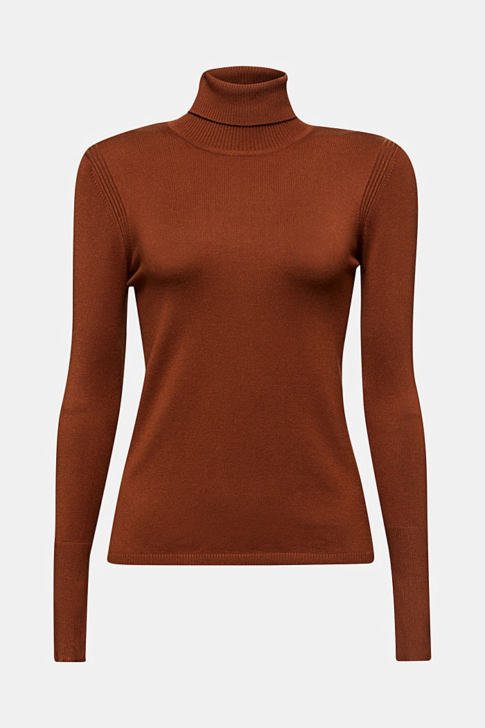 Polo neck jumper in LENZING™ ECOVERO™, TOFFEE, detail image number 5
