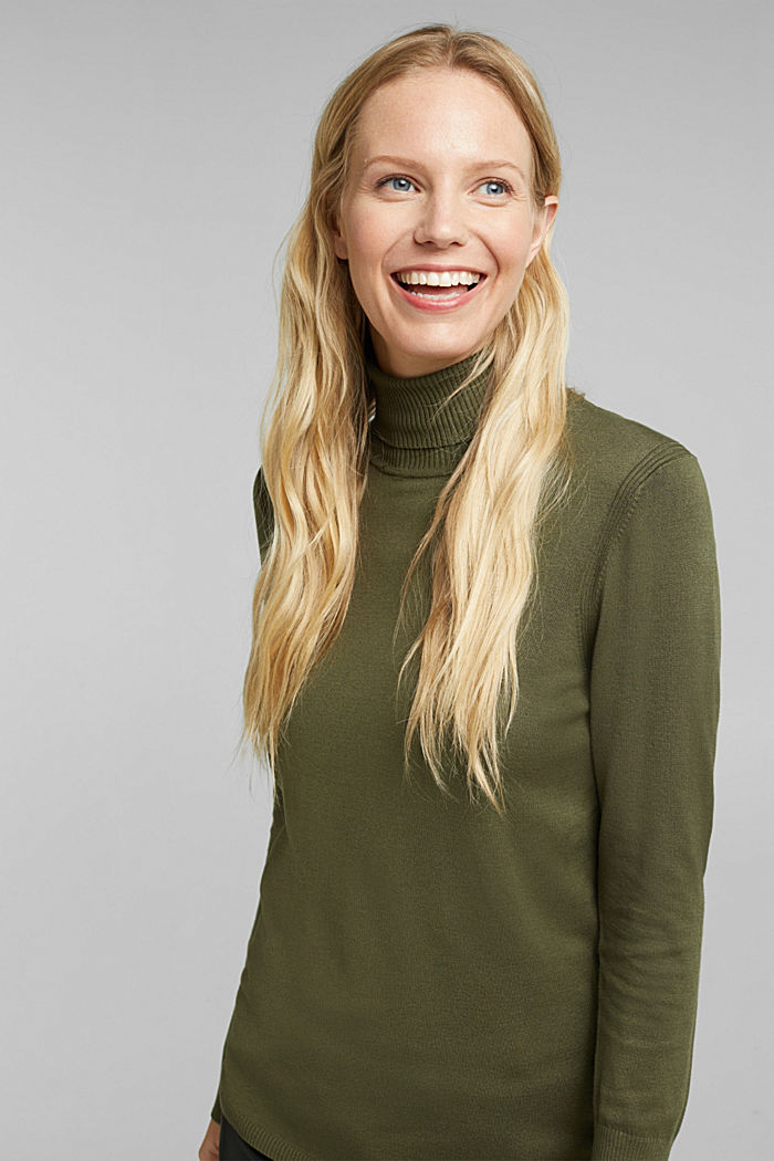 Polo neck jumper in LENZING™ ECOVERO™, KHAKI GREEN, detail image number 0