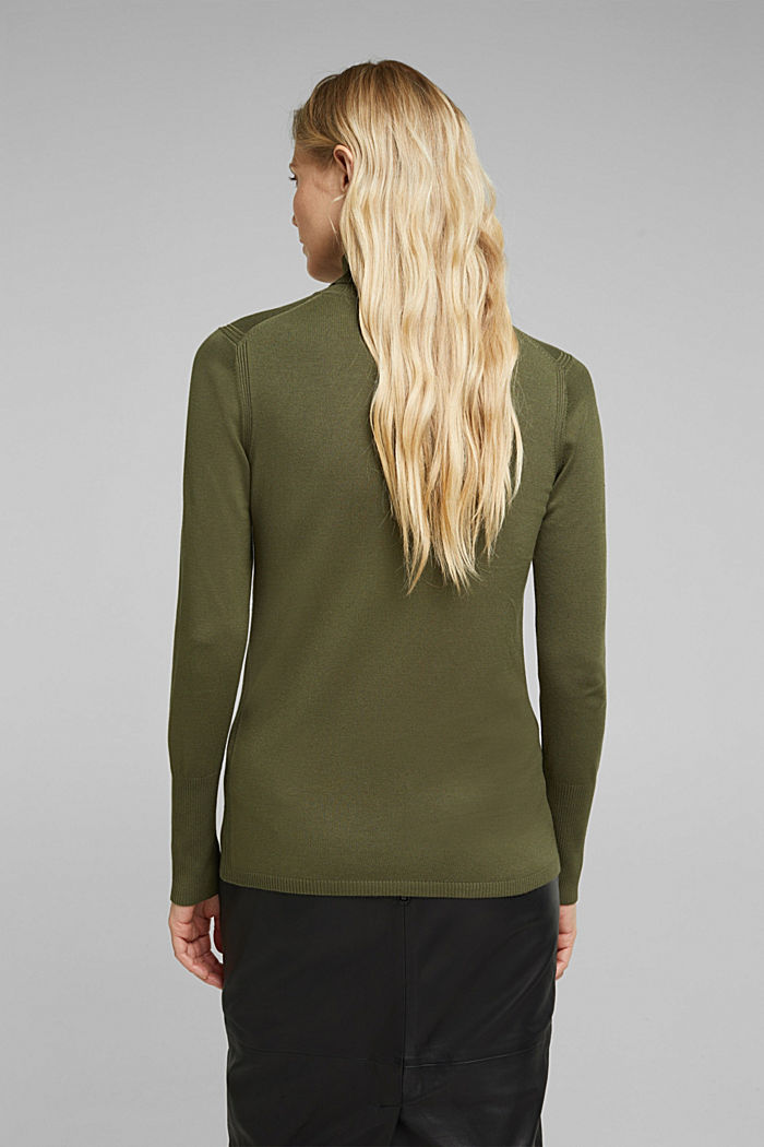 Polo neck jumper in LENZING™ ECOVERO™, KHAKI GREEN, detail image number 3