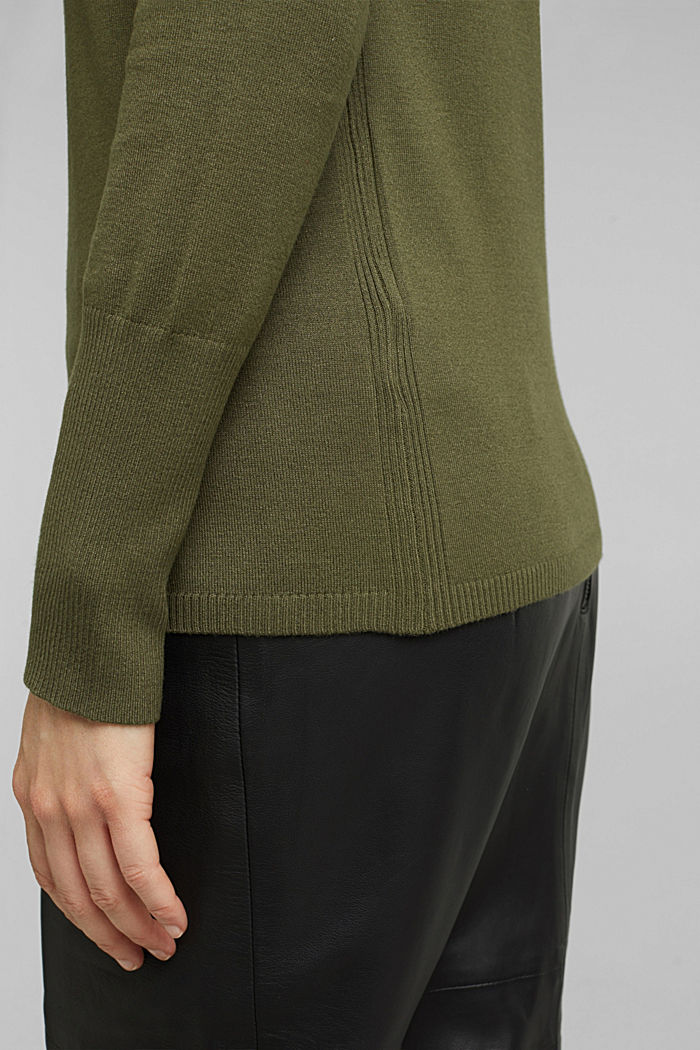 Polo neck jumper in LENZING™ ECOVERO™, KHAKI GREEN, detail image number 2