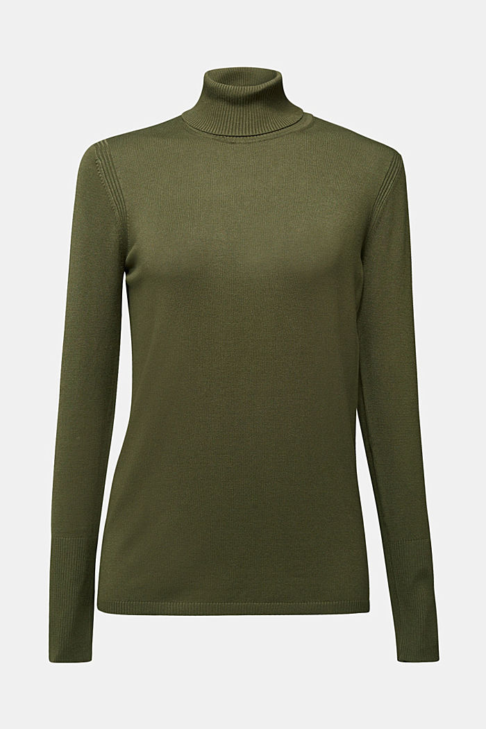 Polo neck jumper in LENZING™ ECOVERO™, KHAKI GREEN, detail image number 5