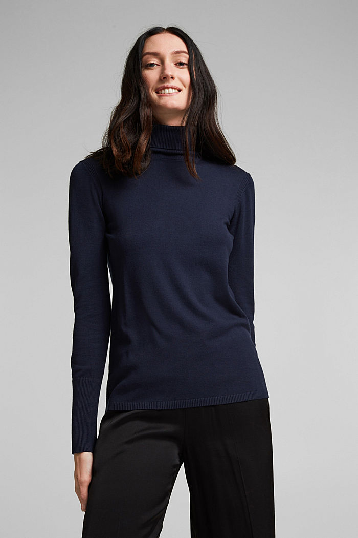 Polo neck jumper in LENZING™ ECOVERO™, NAVY, detail image number 0