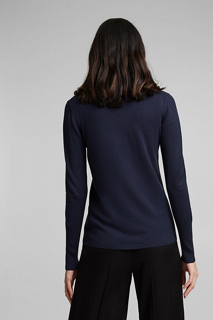 Polo neck jumper in LENZING™ ECOVERO™, NAVY, detail image number 3