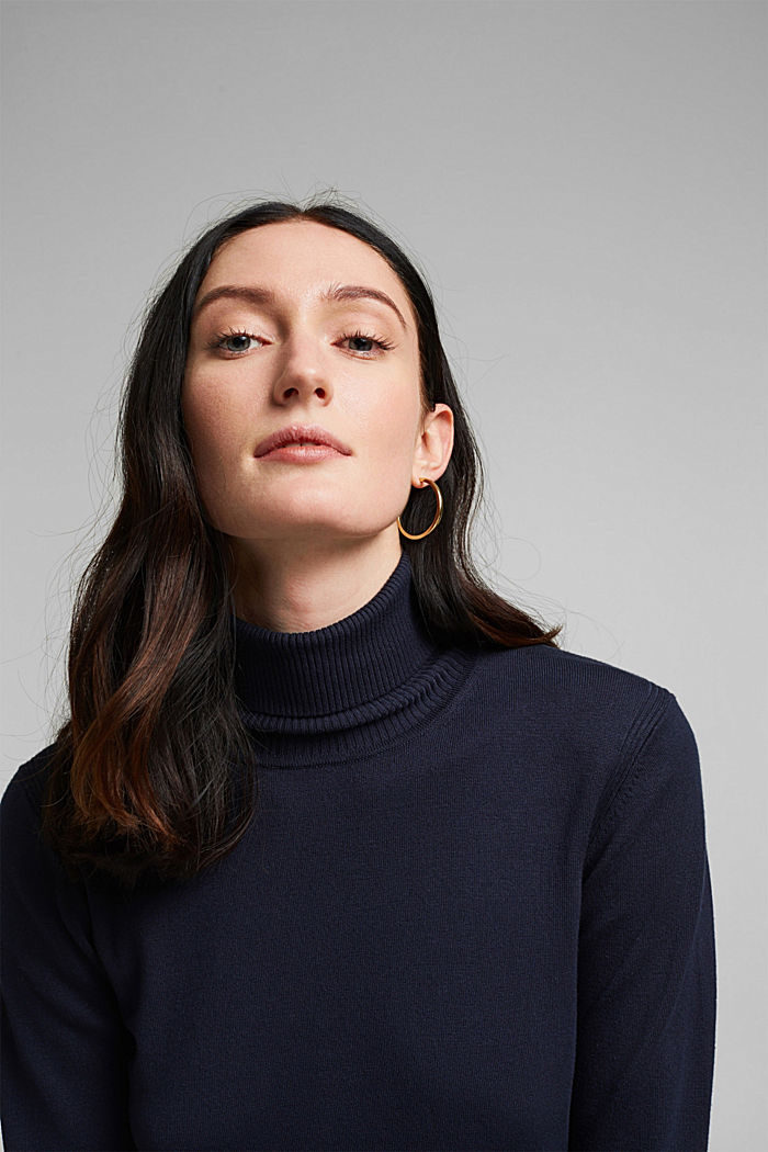 Polo neck jumper in LENZING™ ECOVERO™, NAVY, detail image number 5
