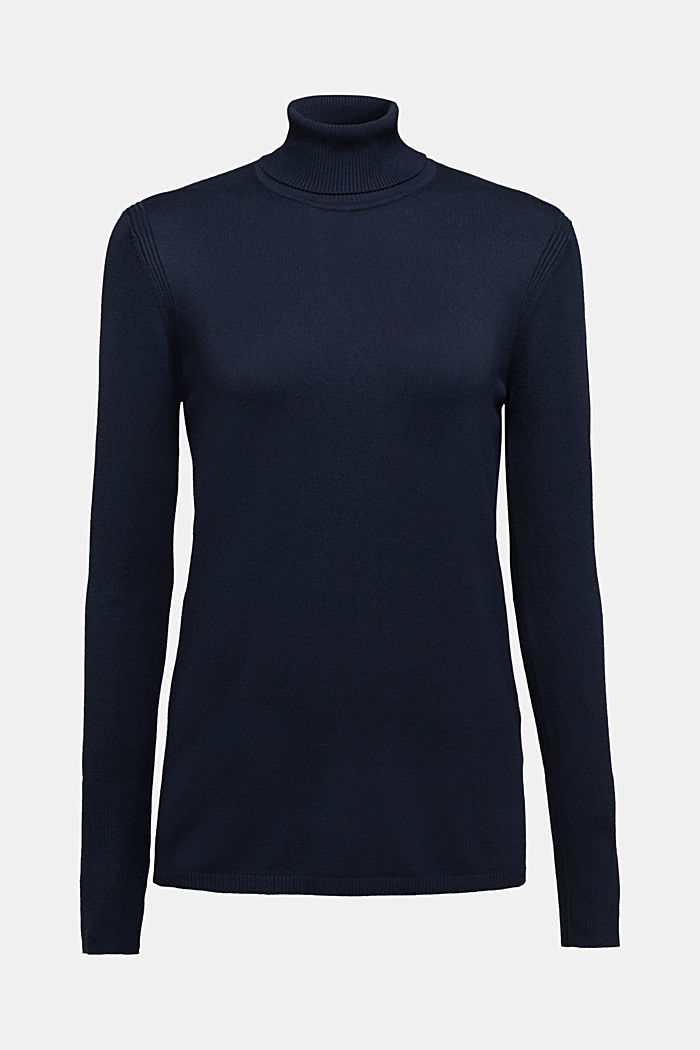 Polo neck jumper in LENZING™ ECOVERO™, NAVY, detail image number 6