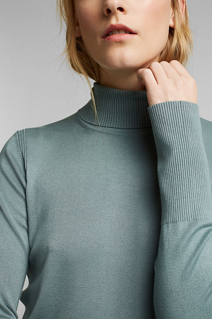 Polo neck jumper in LENZING™ ECOVERO™, GREY BLUE, detail image number 1