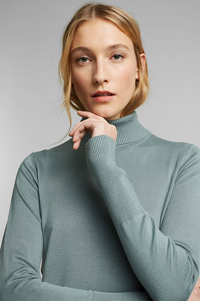 Polo neck jumper in LENZING™ ECOVERO™, GREY BLUE, detail image number 4