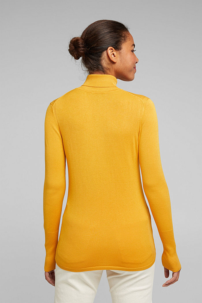 Polo neck jumper in LENZING™ ECOVERO™, HONEY YELLOW, detail image number 3