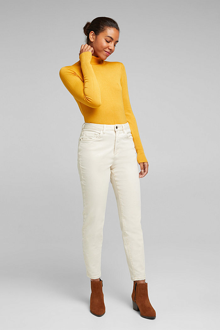 Polo neck jumper in LENZING™ ECOVERO™, HONEY YELLOW, detail image number 1