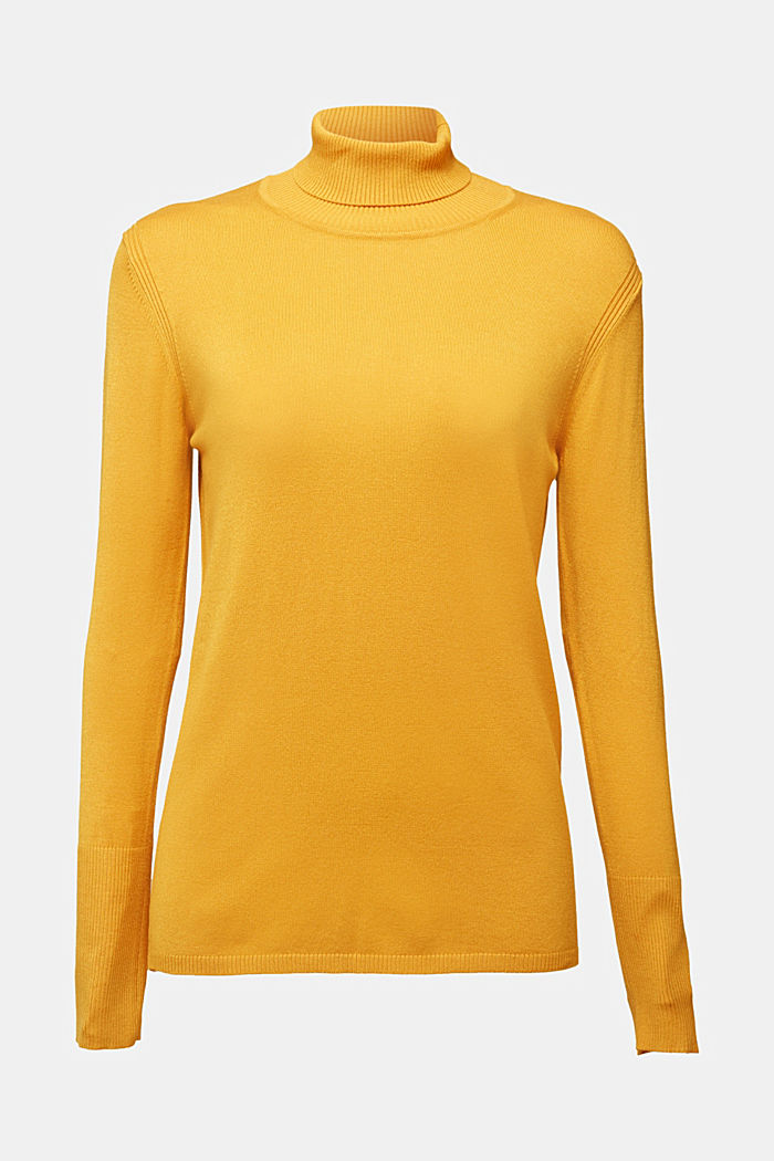 Polo neck jumper in LENZING™ ECOVERO™, HONEY YELLOW, detail image number 5