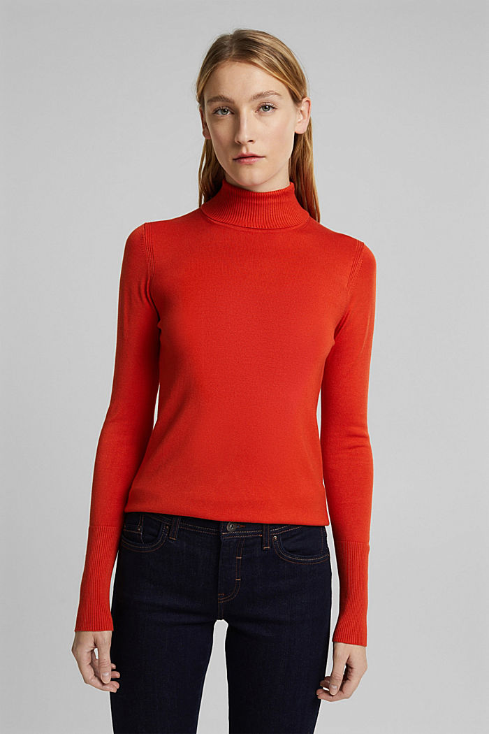 Polo neck jumper in LENZING™ ECOVERO™, RUST ORANGE, detail image number 0