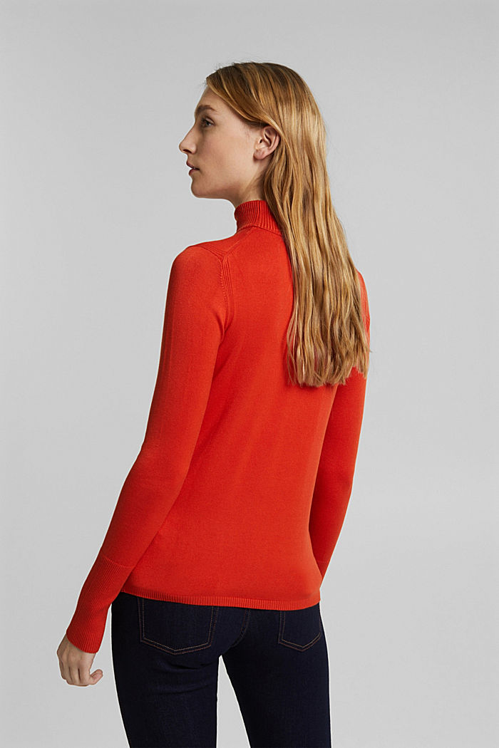 Polo neck jumper in LENZING™ ECOVERO™, RUST ORANGE, detail image number 3