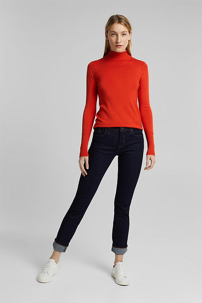 Polo neck jumper in LENZING™ ECOVERO™, RUST ORANGE, detail image number 6