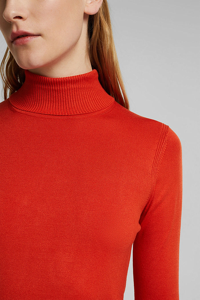 Polo neck jumper in LENZING™ ECOVERO™, RUST ORANGE, detail image number 2