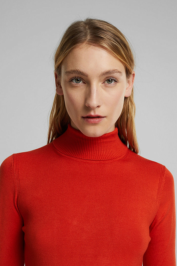 Polo neck jumper in LENZING™ ECOVERO™, RUST ORANGE, detail image number 5