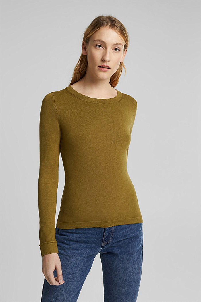 Jumper containing LENZING™ ECOVERO™, OLIVE, detail image number 0