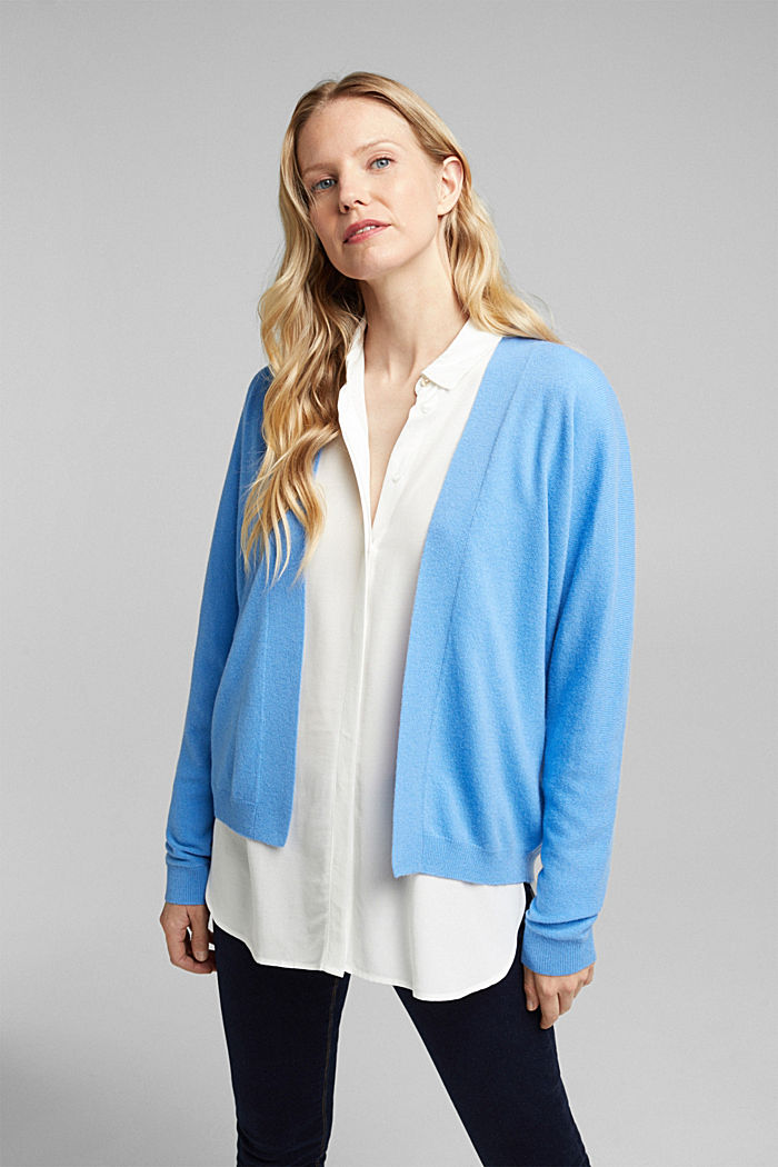 Open cardigan made of 100% cashmere, BLUE, detail image number 0