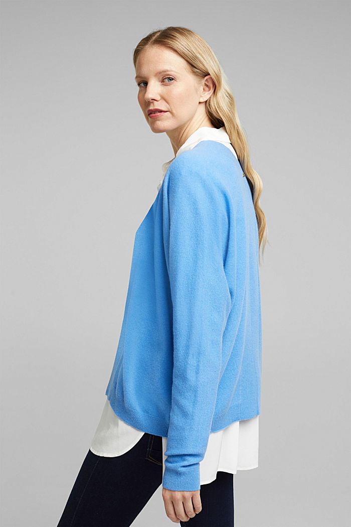 Open cardigan made of 100% cashmere, BLUE, detail image number 3