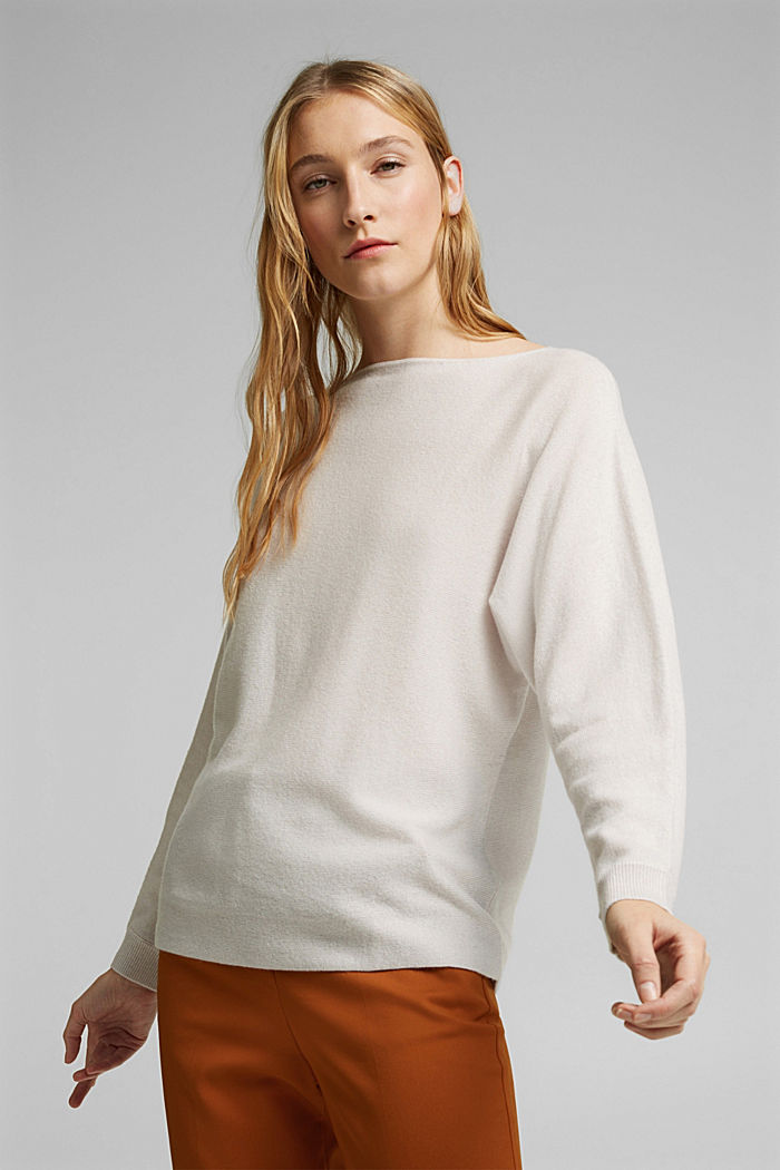 Made of 100% cashmere: jumper with batwing sleeves, ICE, detail image number 0