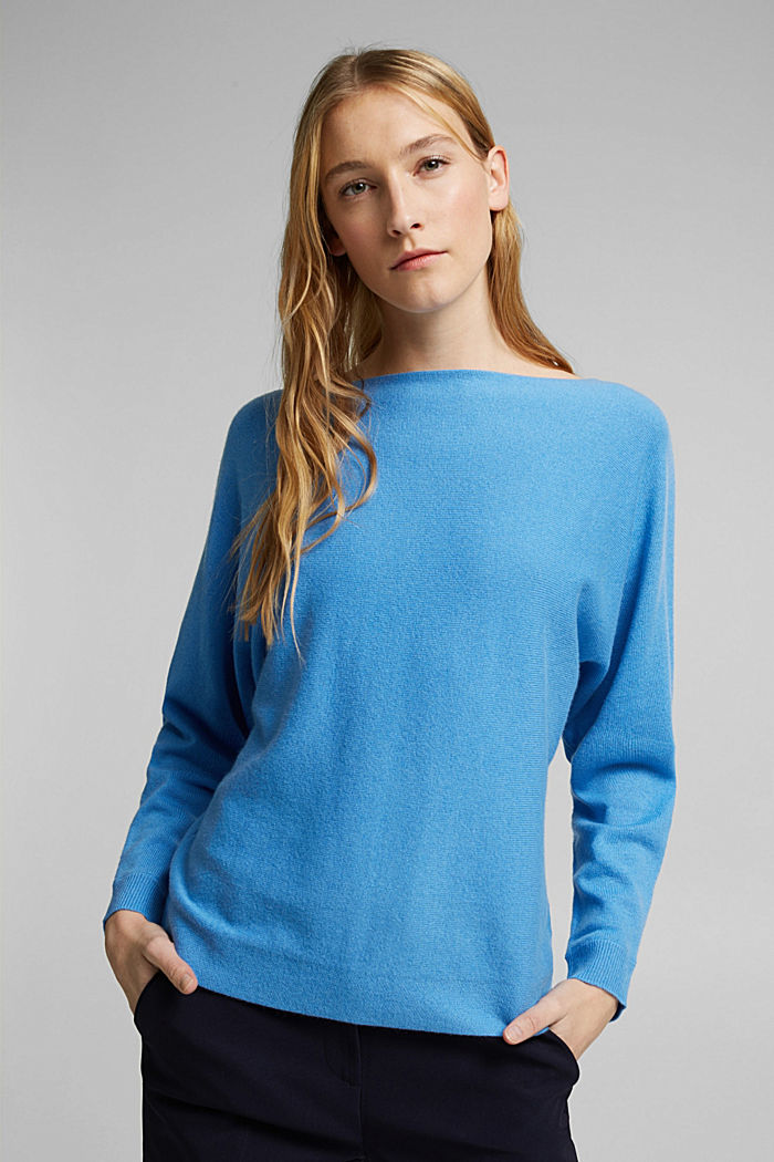 Made of 100% cashmere: jumper with batwing sleeves