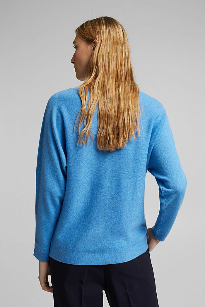 Made of 100% cashmere: jumper with batwing sleeves, BLUE, detail image number 3