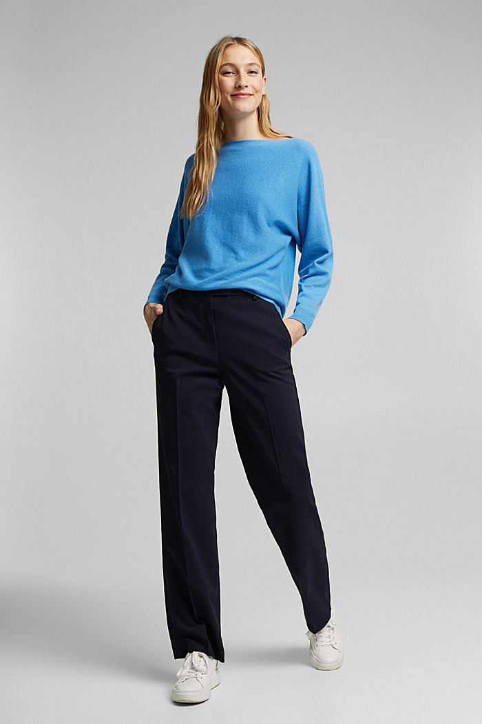 Made of 100% cashmere: jumper with batwing sleeves, BLUE, detail image number 5