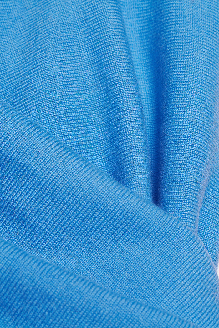 Made of 100% cashmere: jumper with batwing sleeves, BLUE, detail image number 4