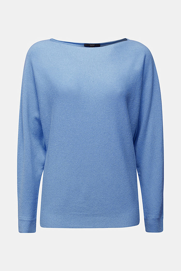 Made of 100% cashmere: jumper with batwing sleeves, BLUE, detail image number 6