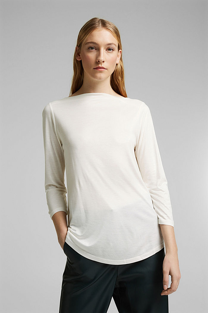 Softly shimmering long sleeve top with a bateau neckline, OFF WHITE, detail image number 0