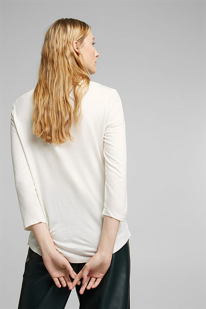Softly shimmering long sleeve top with a bateau neckline, OFF WHITE, detail image number 3