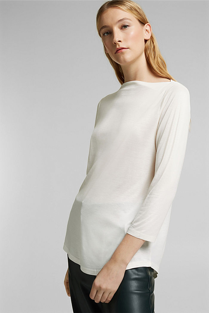 Softly shimmering long sleeve top with a bateau neckline, OFF WHITE, detail image number 5