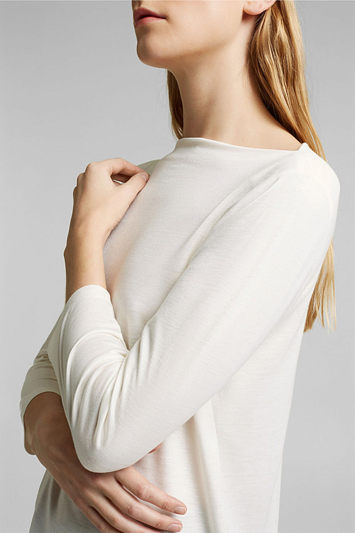 Softly shimmering long sleeve top with a bateau neckline, OFF WHITE, detail image number 2