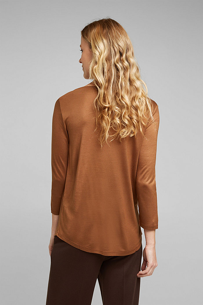 Softly shimmering long sleeve top with a bateau neckline, TOFFEE, detail image number 3