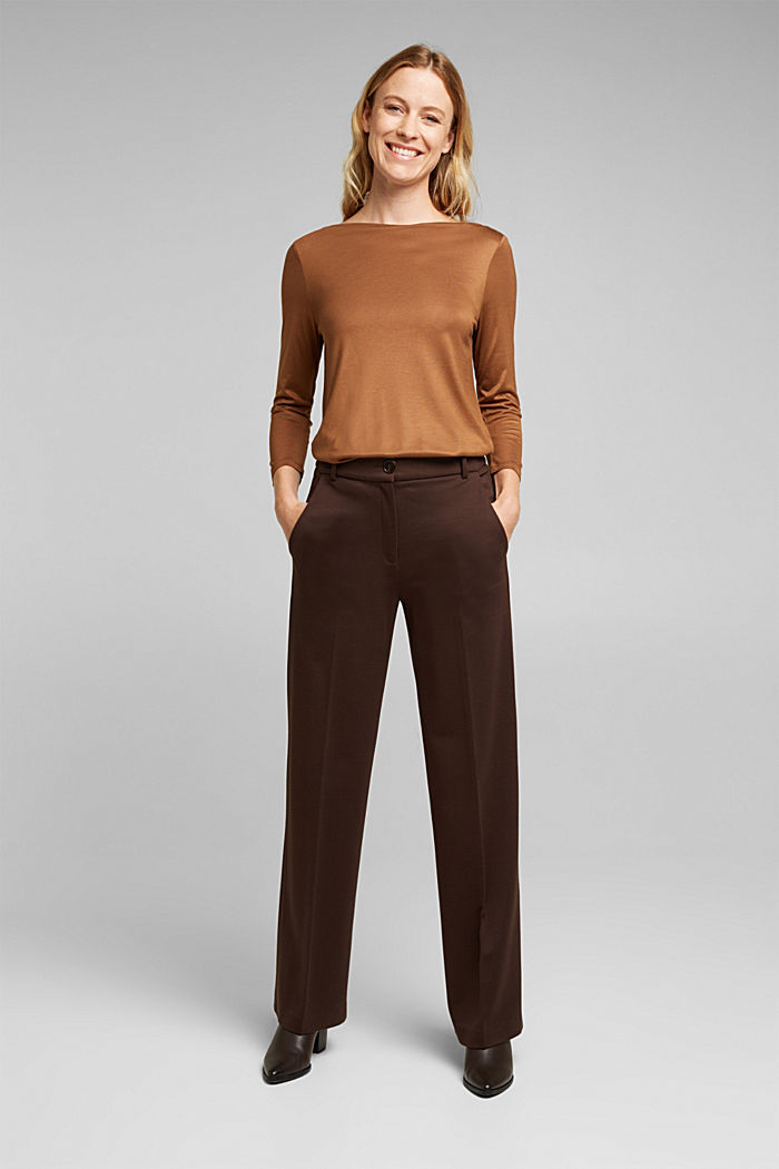 Softly shimmering long sleeve top with a bateau neckline, TOFFEE, detail image number 1