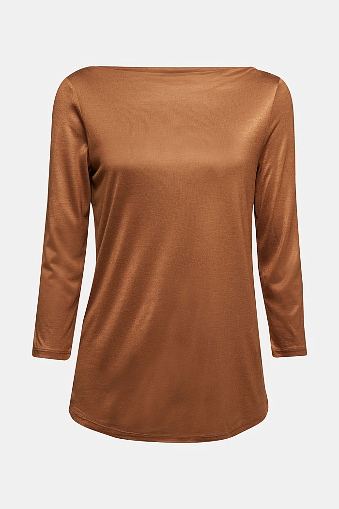 Softly shimmering long sleeve top with a bateau neckline, TOFFEE, detail image number 7