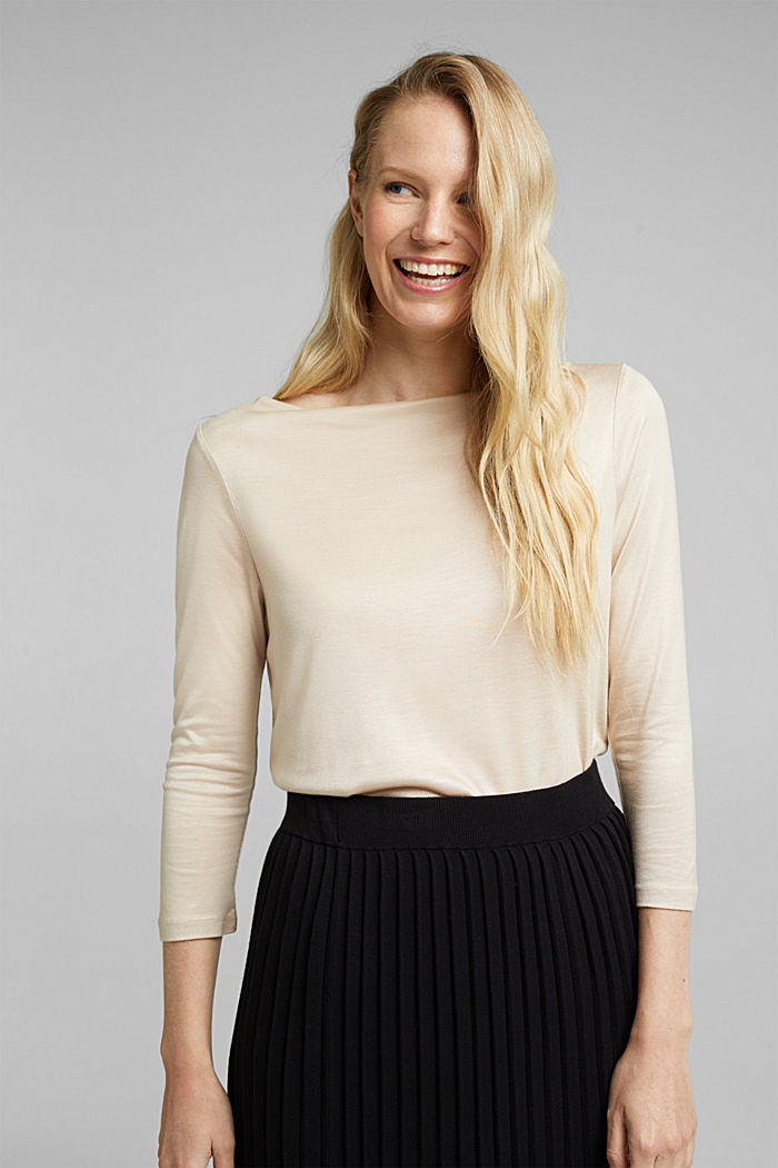 Softly shimmering long sleeve top with a bateau neckline, SAND, detail image number 0