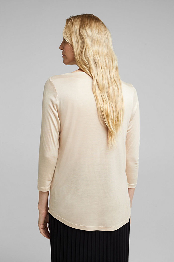 Softly shimmering long sleeve top with a bateau neckline, SAND, detail image number 3
