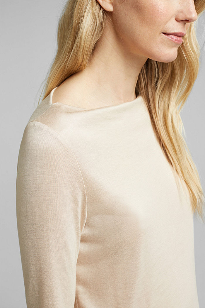 Softly shimmering long sleeve top with a bateau neckline, SAND, detail image number 2