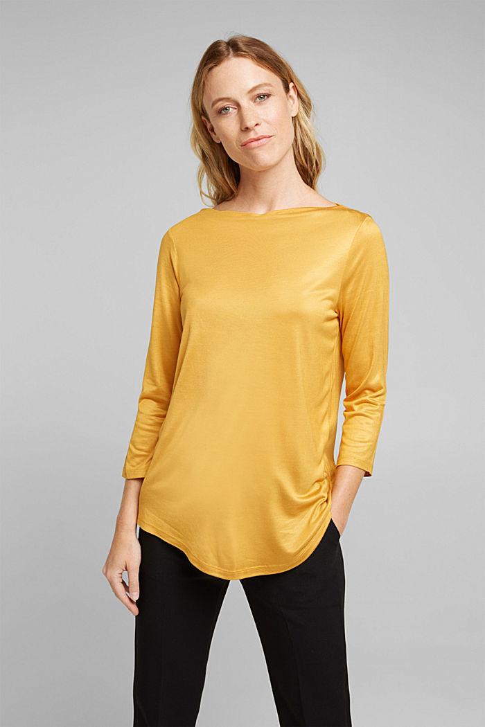 Softly shimmering long sleeve top with a bateau neckline, HONEY YELLOW, detail image number 0