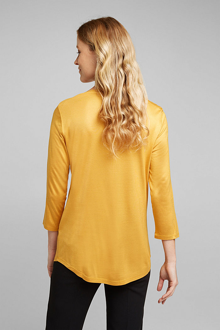 Softly shimmering long sleeve top with a bateau neckline, HONEY YELLOW, detail image number 3